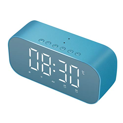 - NOMENI Wireless Bluetooth Speaker Stereo, Dimmable LED Display Alarm Clock with Radio, Micro SD Card, Hands-Free Call, LED Night