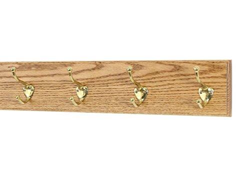 Oak Wall Mounted Coat Rack with Solid Brass Hooks 4.5