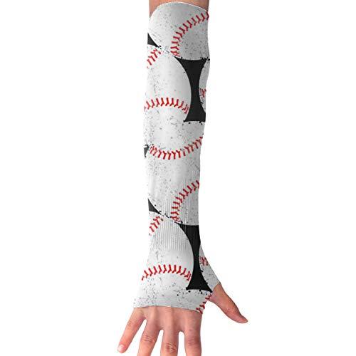 WAY.MAY Baseball Pattern Sun Protection Sleeve Long Arm Fingerless Gloves Outdoor Sleeve