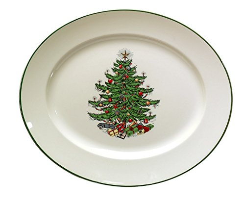 Cuthbertson Original Christmas Tree Traditional Oval Platter, Medium 12