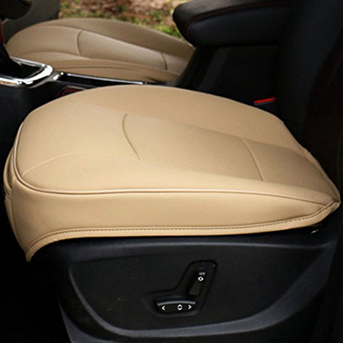 WYQ Luxury PU Leather 3D Full Surround Car Seat Protector Seat Cover Accessories Cream-Colored