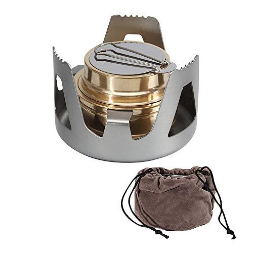 Wankd Spiritusbrander, mini koper spiritusfornuis campingkoker met aluminium standaard voor kamperen, wandelen…