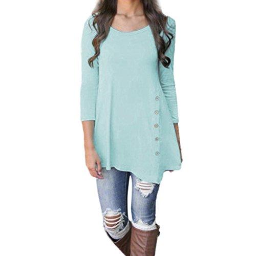 Goddessvan Plus Size Tops, Women Long Sleeve Loose Shirt Button Trim Round Neck Tunic Blouse T-Shirt (S, Blue)