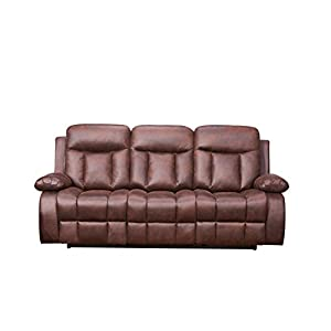 Betsy Furniture 2-PC Microfiber Fabric Recliner Set Living Room Set in Brown, Sofa Loveseat Chair Pillow Top Backrest and Armrests 8028-32