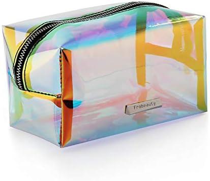 ffba784955 Holographic Makeup Bag Iridescent Cosmetic Bag Hologram Clutch Large  Toiletries Pouch Holographic Handy Makeup Pouch Wristlets Organizer Women  Evening Bag …