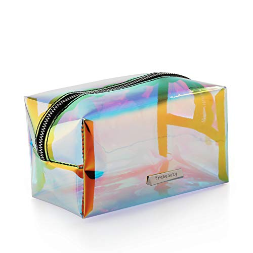 (Holographic Makeup Bag Iridescent Cosmetic Bag Hologram Clutch Large Toiletries Pouch Holographic Handy Makeup Pouch Wristlets Organizer Women Evening Bag)