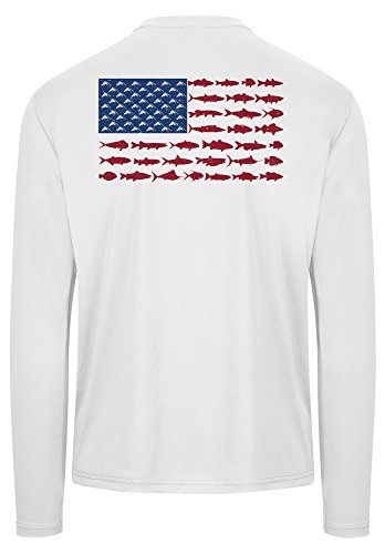 Chasing Fin American Fish Flag Performance Long Sleeve Fishing Shirt (2XL, White) (Fin Performance)