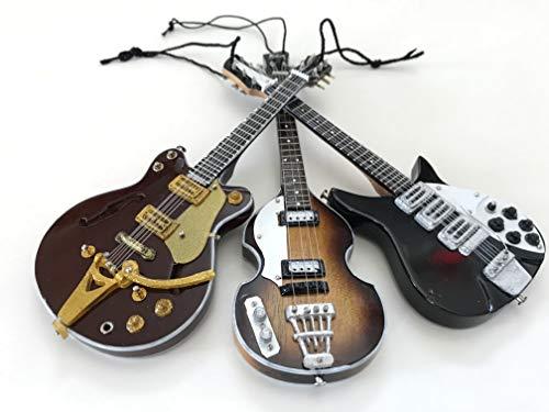 Beatles Ornaments - Fab Four Set of Three Classic Miniature Guitar Replica Collectibles