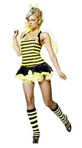 Size Queen Bee Plus Costumes (Leg Avenue Womens Queen Bumble Bee Crown Outfit Fancy Dress Sexy Costume, S/M)