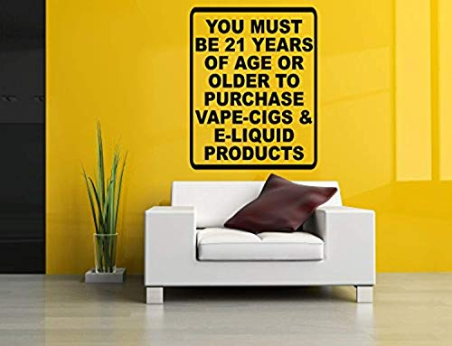 Wall Vinyl Sticker Decal You Must Be 21 Years Old Stop Smoking Start Vaping Quote Phrase Vaporizer Vape Pen Store Shop Smoke E Cigarettes Liquid Coil Indoor Outdoor Sign Logo MZ2763