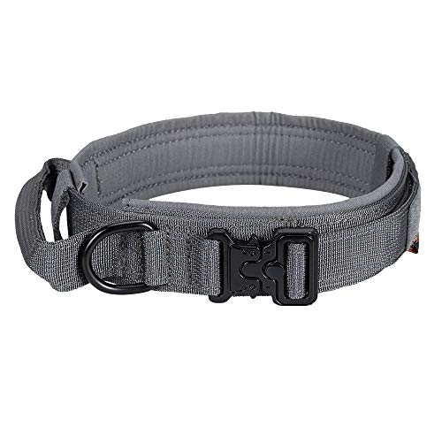 EXCELLENT ELITE SPANKER Tactical Dog Collar Nylon Adjustable K9 Collar Military Dog Collar Heavy Duty Metal Buckle with Handle