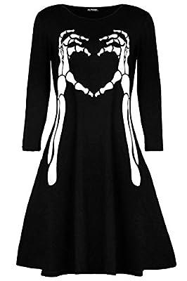 Be Jealous Womens Smock Skeleton Bone Heart Halloween Fancy Party Swing Dress