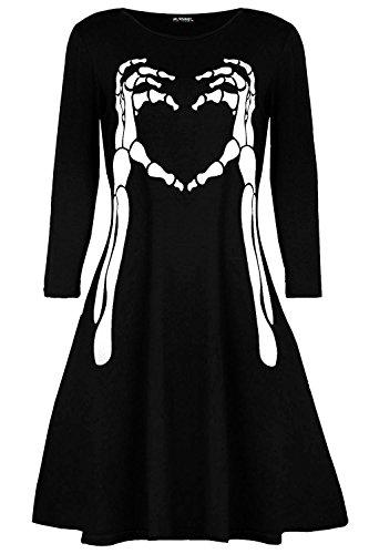 Womens Ladies Halloween Fancy Costume Skeleton Bone Heart Smock Swing Mini Dress