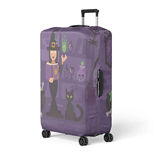 Semtomn Luggage Cover Witch in Her House Studying Magic Young Sorceress Casting Travel Suitcase Cover Protector Baggage Case Fits 22-24 Inch ()