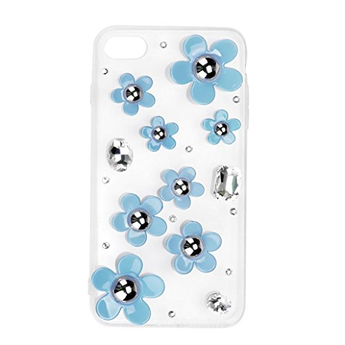 For iPhone 7 Plus Case, HP95(TM) Back Case Clear Protective Cover with Drilling Flowers For iPhone 7 Plus (Sky Blue)