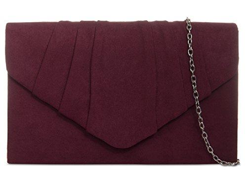 Ladies Faux Suede Clutch Bag - Women's Evening Bag Handbag Envelope Cocktail Purse KW308 Burgundy