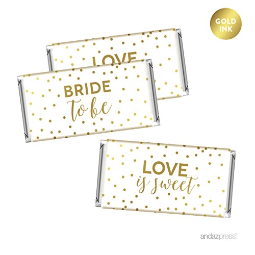 Andaz Press Metallic Gold Confetti Polka Dots Party Collection, Hershey's Bar Labels Stickers, Bridal Shower, 10-Pack (Bridal Shower Bar Chocolate Personalized)