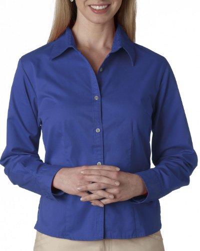 Ultraclub Ladies Whisper Twill Shirt - UltraClub® Ladies' Whisper Twill Shirt - French Blue - 2XL