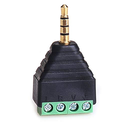 4 Pole Metal - MOBOREST 3.5mm Male Adapter TRS/TRRS 4 Pole Solder-Free Repair Headphone Jack Plug Metal Audio Soldering Headset Connector (Solder-Free 3.5mm Male-1pack)