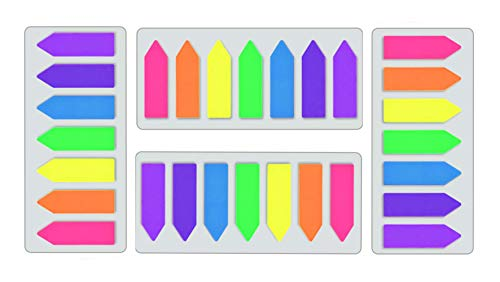 Megrocle 4 Pack Neon Page Markers Writable and Repositionable Fluorescent Sticky Arrow Flags, Index Page Tabs for Post Sign Marker, 7 Colors 560 Pieces