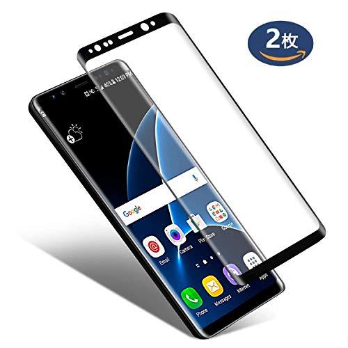 ジュニアイサカ魔術Galaxy Note 8 ガラスフィルム, IRROT Note 8 フィルム 専用 強化ガラスフィルム 99% 透過率 【 3D全面保護ガラス2枚】「ケースに干渉せず&良いタッチ感度」 硬度9H 超薄0.33mm 指紋防止 Galaxy Note 8 保護フィルム「品質保証」【6.3 インチ-ブラック】