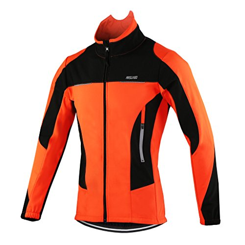 Stripe Warm Up Jacket - ARSUXEO Winter Warm UP Thermal Fleece Cycling Jacket Windproof 15F Orange Size X-Large