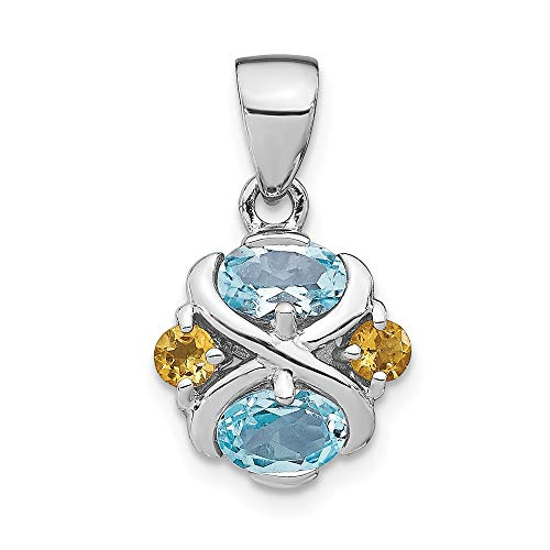 - 925 Sterling Silver Blue Topaz Yellow Citrine Pendant Charm Necklace Gemstone Fine Jewelry Gifts For Women For Her