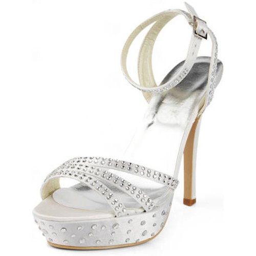 Elegantpark Ep11071 Vrouwen Avond Prom Sandaal Open Teen Strappy Gesp Satijn Bruids Schoenen Ivoor