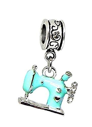 (J&M Dangle Blue Sewing Machine Charm Bead)