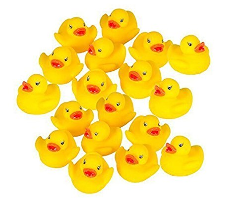 Stuffwholesale 1.5inch Rubber Sound Duck Baby Bath Toys, 100 Pack