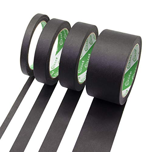 (Black Masking Tape Painters Tape 1 1/2 3/4 2 inch 27 Yards 4 Rolls Adhesive Wide Thin Thick Skinny Bulk for Decorative)