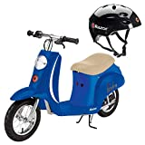 Razor Pocket Mod Kids Miniature Electric Retro Scooter + V17 Youth Safety Helmet