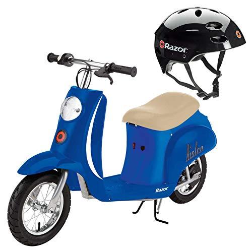 Razor Pocket Mod Kids Miniature Electric Retro Scooter + V17 Youth Safety Helmet (Razor Pocket Mod Miniature Electric Euro Style Scooter)