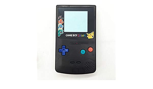 Full Housing Case Cover Housing Shell Replacement for Game boy Color GBC Shell Case with Buttons Kit (Black+Colorful Buttons/Lens)