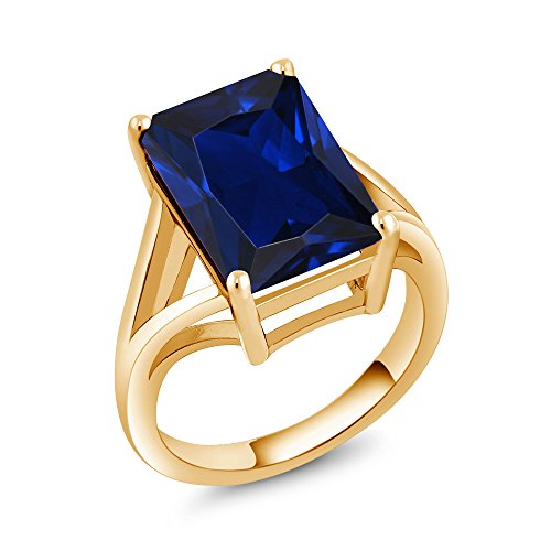 10.00 Ct Emerald cut Simulated Sapphire 18K Yellow Gold Plated Silver Solitaire Ring (Size (Emerald Cut Yellow Sapphire)