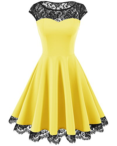 age 1950s Floral Lace Scoop Neck Cap Sleeve Cocktail Party Dress Yellow XL ()