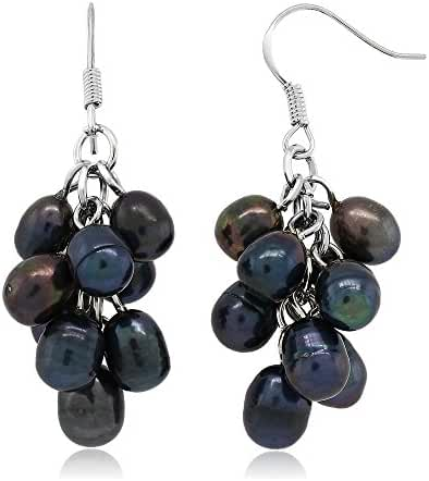 Black Grape Cultured Freshwater Pearl Cluster 925 Silver Hook Earrings