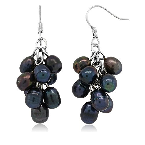 Dangling Button Earrings (Black Grape Cultured Freshwater Pearl Cluster Hook Earrings)