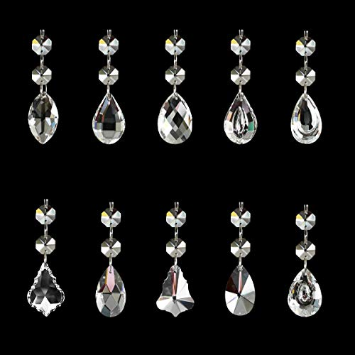 SunAngel Clear Teardrop Glass Beads for Jewelry Crystal Glass Pendants Suncatchers Chandelier Prism Parts Beads for Decoration Party Christmas Wedding (38mm Combination Pendant + 2 Octagonal Beads)