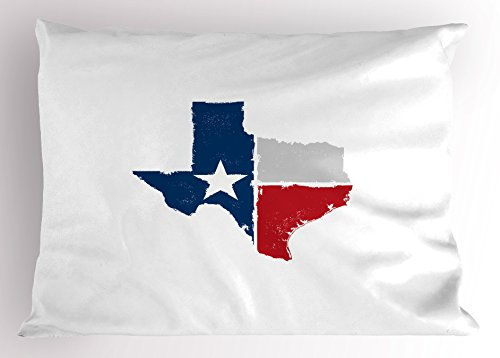 Lunarable Texas Pillow Sham, Distressed State Outlines Fort Worth Austin Borders Flag Design the Lone Star, Decorative Standard King Size Printed Pillowcase, 36 X 20 Inches, Dark Blue Red Grey