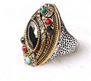 Turkey Style Gold plated Inlaid Black Crystal Ring Size 7