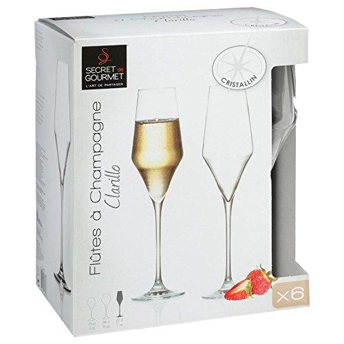 Lot de 6 Fl/ûtes /à ChampagneClarillo 22cl Transparent