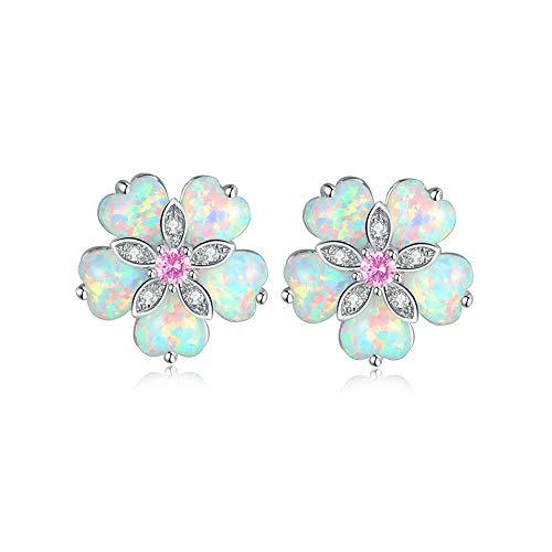 CiNily Flower Opal Earrings Stud, Pink Topaz Zircon Rhodium Plated Women Hypoallergenic Jewelry Wedding Gemstone Stud Earrings 15mm