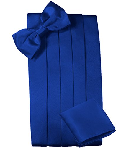 Mens Satin Cummerbund Bowtie Hanky set, 4 Pleat, Large Variety of Solid Colors Available, by Platinum Hanger (Royal Blue)