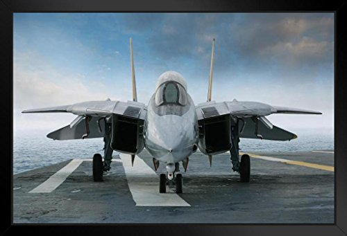 F 14 Tomcat Aircraft Fighter Jet On Carrier Deck Photo Framed Poster 14x20 inch