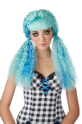 Turquoise/Blue Crimped Baby Doll Curls Clown Curly Club Locks Rag Costume Wig