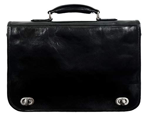 Leather Briefcase Laptop Bag Attache Medium Time Resistance (Black)