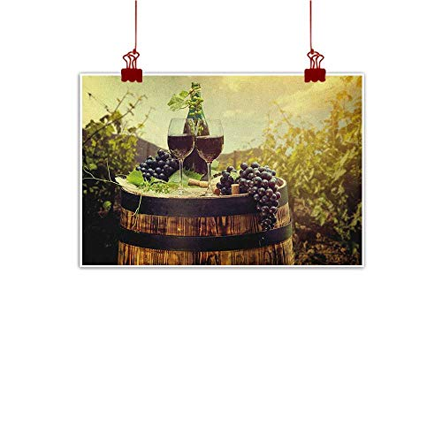 Sunset glow Canvas Wall Art Wine,Scenic Tuscany Landscape with Barrel Couple of Glasses and Ripe Grapes Growth, Green Black Brown 36