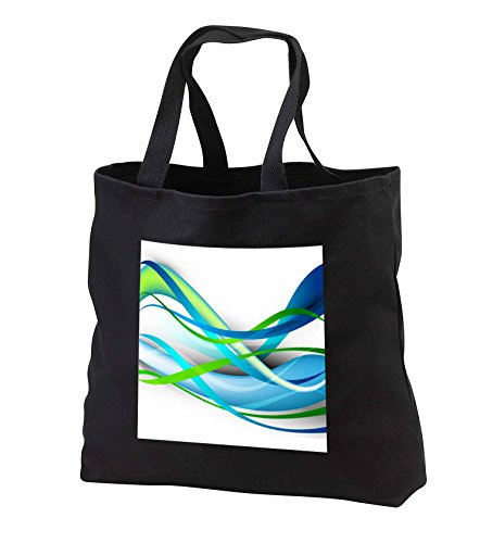 Price comparison product image Anne Marie Baugh - Abstract - Green and Blue Abstract Streamers - Tote Bags - Black Tote Bag 14w x 14h x 3d (tb_251687_1)