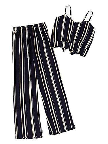 Milumia Women Striped Crop Cami Top with Pants Two Piece Outfit Summer Romper Jumpsuits Navy-2 M ()